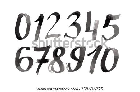 Calligraphic watercolor numbers. Vector - stock vector