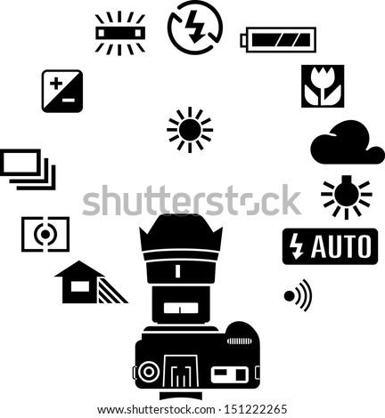Camera display icons and screen symbols  - stock vector
