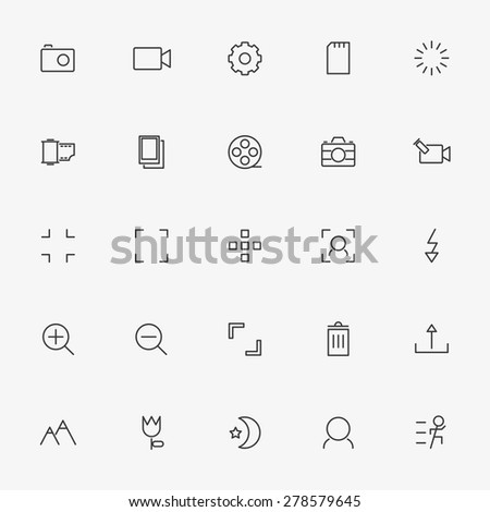 25 camera line icons vector