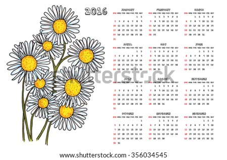 2016 camomile calendar - stock vector