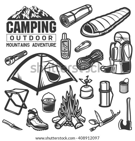 Camping And Hiking Big Icon Set Tent Backpack Gps Navigator Knife