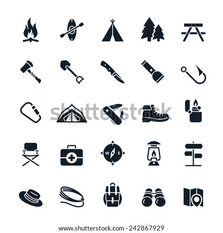 Camping icons Vector illustration - stock vector