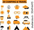 20 camping & travel signs - stock vector