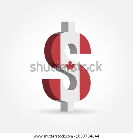 Canadian Dollar Cad Currency Symbol Flag Stock Vector 2018