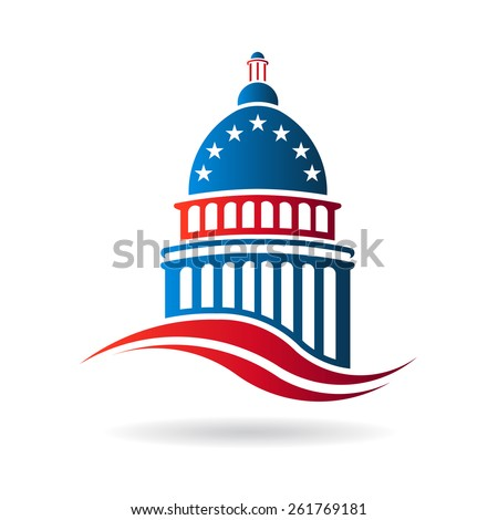 Capitol building logo in red white and blue. Vector graphic design
