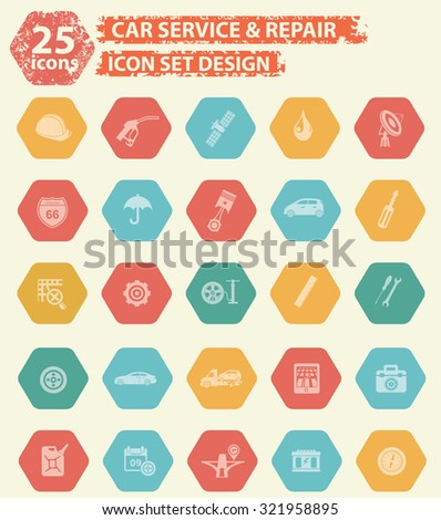 25 Car and service icons on buttons,clean vector - stock vector