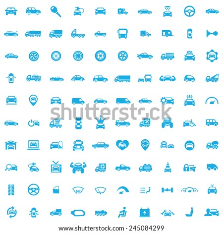 100 car icons, blue on white background  - stock vector