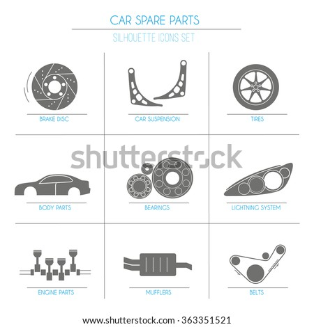 9 car parts silhouette icons 1 of 2 set on blocks - stock vector