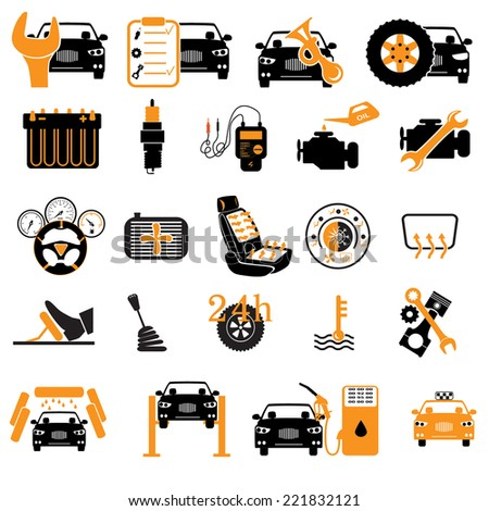 Car service maintenance icon. ?ar part set of repair icon vector illustration. - stock vector