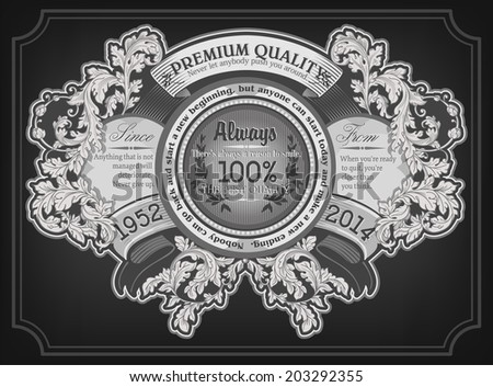 Card design with baroque floral ornaments. Retro frame. - stock vector