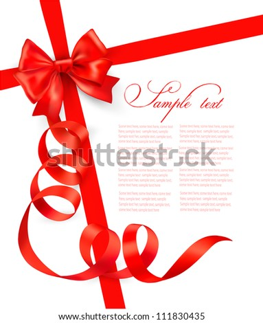 Card with red gift bow with ribbons Vector - stock vector