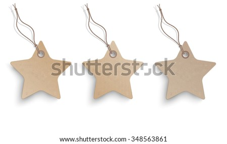 3 cardboard hanging price stickers on the white background.  Eps 10 vector file.