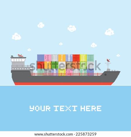 """""""Cargo ship"""" vector illustration - stock vector"""