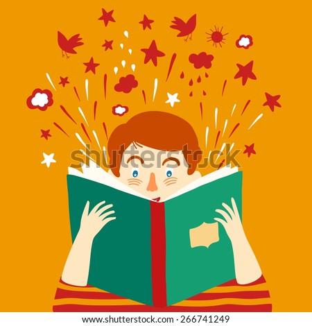 Cartoon boy reading big book. Vector illustration. - stock vector