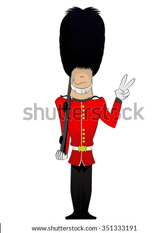 Cartoon British Royal Soldier with weapon showing peace sign and smile . Vector fun character illustration of English traditional guardian - stock vector