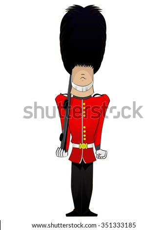 Cartoon British Royal Soldier with weapon . Vector fun character illustration of English traditional guardian - stock vector