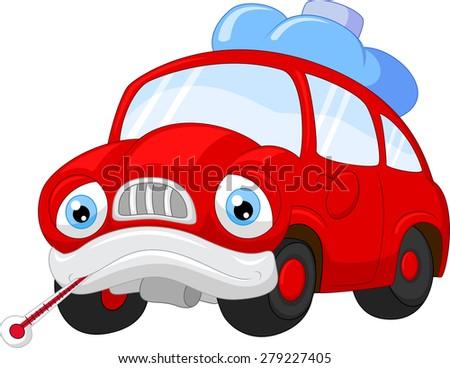 Cartoon car character needing repair - stock vector