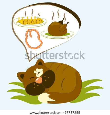 Cartoon cat has dreams about tasty meal - stock vector