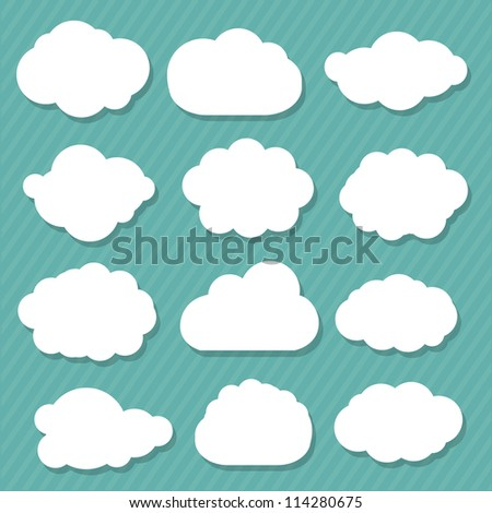 12 Cartoon Clouds, Isolated On Blue Background, Vector Illustration - stock vector