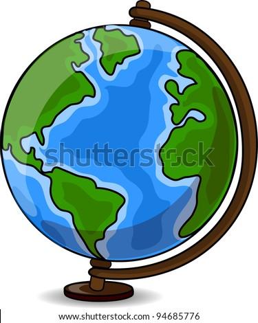 Cartoon Desk Globe - stock vector