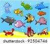 12 cartoon fish in the sea, vector illustration - stock vector