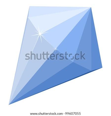 Cartoon illustration of a blue diamond - stock vector