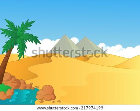 Cartoon illustration of small oasis in the desert - stock vector