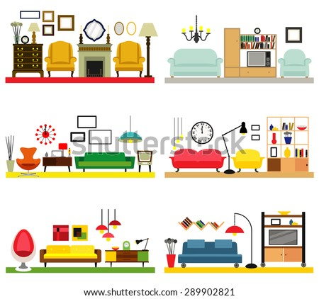 items in a living room living rooms furniture flat style stock vector 23028