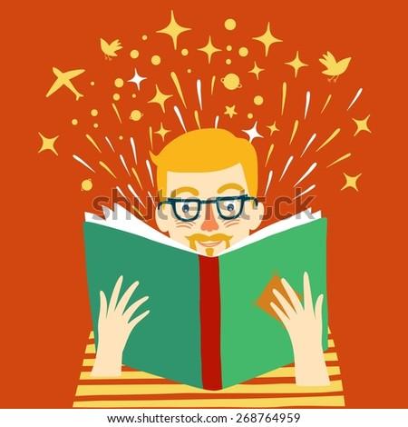 Cartoon  man with glasses reading big book. Vector illustration. - stock vector