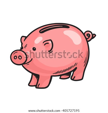 Cartoon piggy bank Isolated vector illustration on white background Sketch of happy funny piggy bank Banking and saving money concept - stock vector