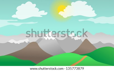 Cartoon vector illustration of mountains and hills nature landscape - stock vector