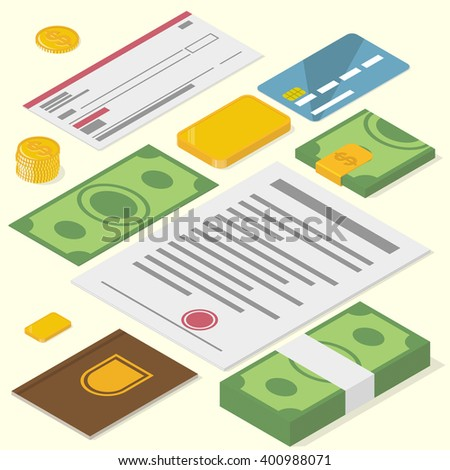 Cash, coins, bank check, gold bar, credit card, documents. Precious financial things. Isometric vector illustration - stock vector