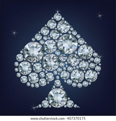 Casino poker element Spades Card made a lot of diamonds  - stock vector
