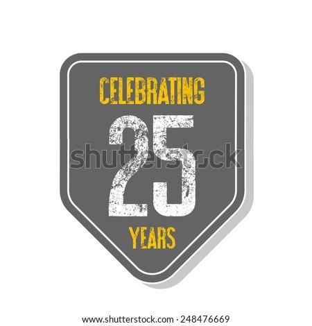 """Celebrating 25 years"" banner. Vector illustration. - stock vector"