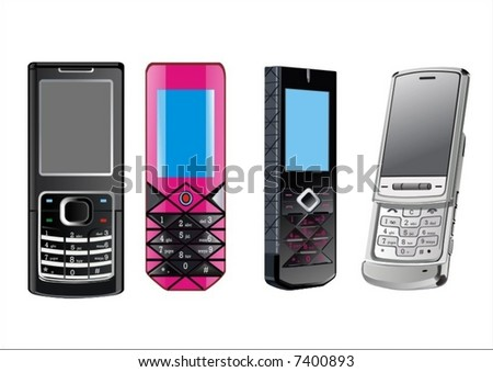 4-cellphones - stock vector