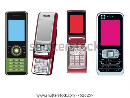 4 cellphones - stock vector