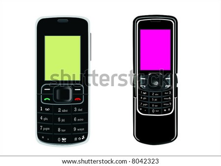 2 cellphones - stock vector