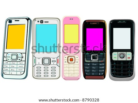 5 cellphones - stock vector