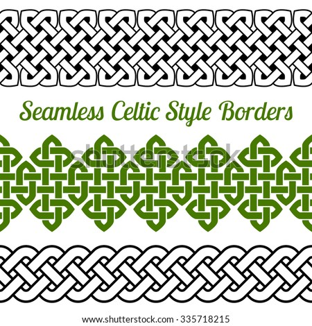 3 Celtic style knot seamless borders, vector illustration (isolated outline on white background) - stock vector