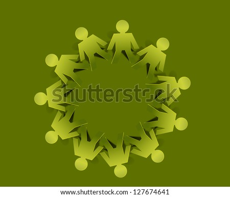 chain of paper people cut, vector eps 10 - stock vector