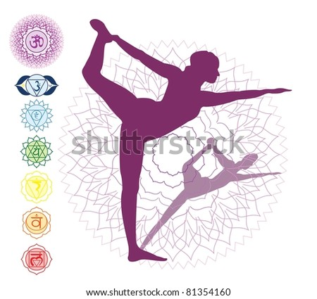 7 Chakras and a asana - stock vector