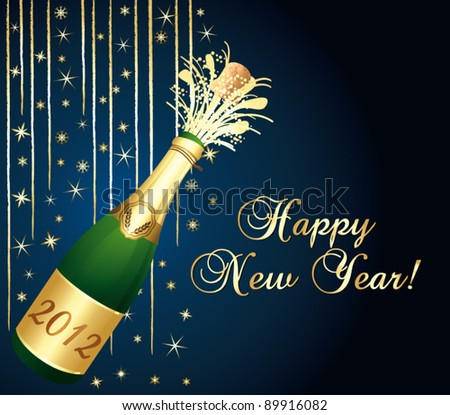 2012 Champagne bottle popping. Happy new year vector greeting card.