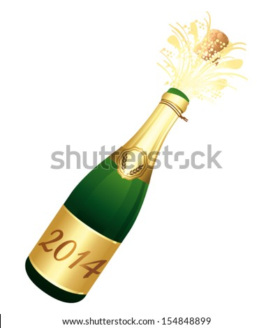 2014 Champagne bottle. Vector icon. - stock vector