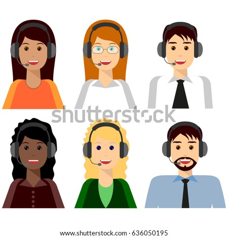 6 characters, Call center agents flat avatars. Live chat operators, guys and girls smiling faces. Online customer support service assistants with headphones.