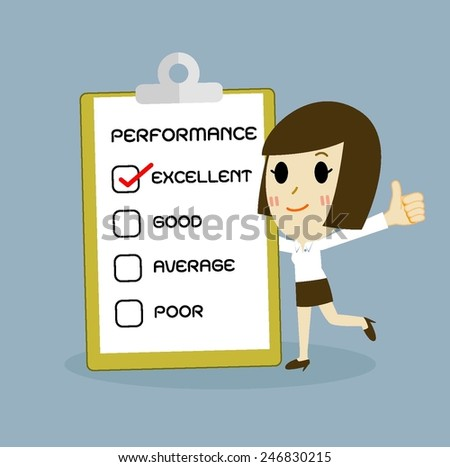 check box, businesswomen concept cartoon vector - stock vector