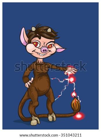 cheerful devil and his manual lightning.vector illustration - stock vector