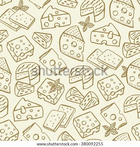Cheese hand drawn seamless pattern - stock vector