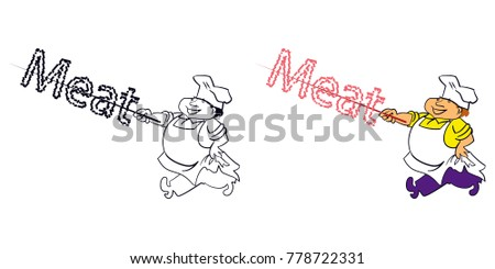 Chef with meat. Vector image.