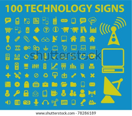 100 chemical techno icons, signs, vector illustrations