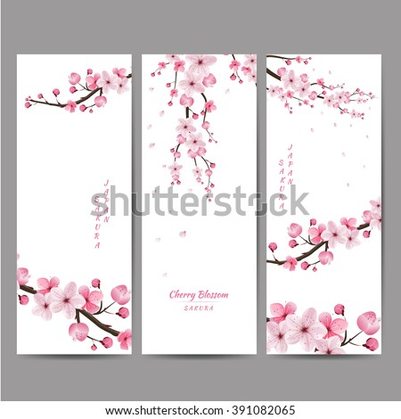 cherry blossom collection , greeting cards , seamless texture , japanese floral pattern - stock vector